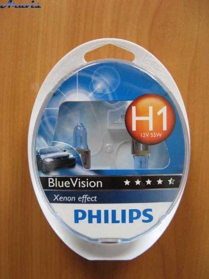 Галогенки H1 Philips 12V 55W 12258BVSM BlueVision+лампы W5W