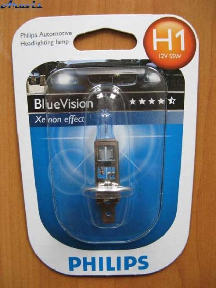 Галогенка H1 Philips 12V 55W 12258BVB1 BlueVision (блистер 1 шт)