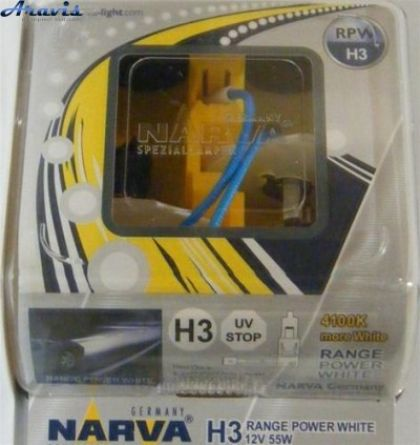 Галогенка H3 NARVA 12V 55W 98516 RANGE POWER WHITE