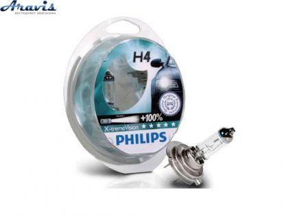 Галогенки H4 Philips 12V 60/55W +100% 12342XVS2 EXTREME VISION