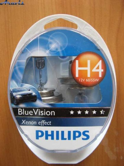 Галогенка H4 Philips 12V 60/55W 12342BVSM BlueVision