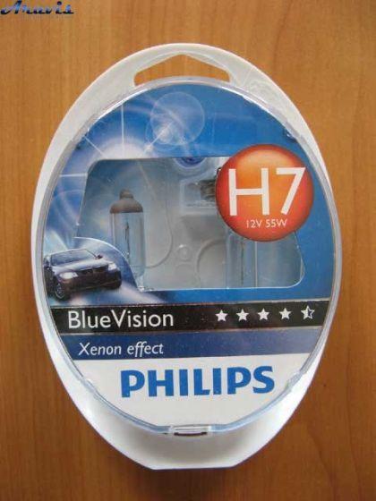 Галогенка H7 Philips 12V 55W 12972BVUSM BlueVision+лампы W5W