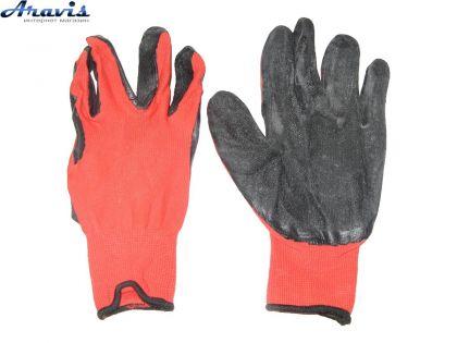Перчатки рабочие KGV-0688 прорезиненные маслобензостойкие красные