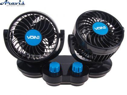 "Вентилятор двойной 4"" 12V Voin HX-T307 6.5W две регулировки скорости вентилятор для авто"