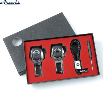 Подарочный набор заглушки для ремней безопасности + брелок Nissan